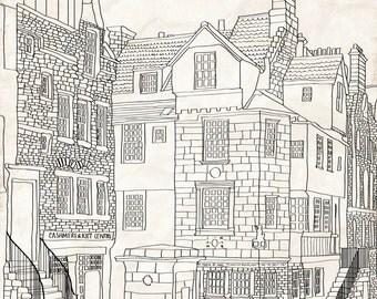John Knox House mounted print