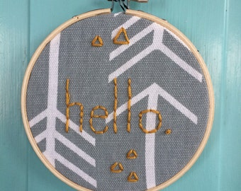 "4"" Hoop Art Hand Embroidered Hello"