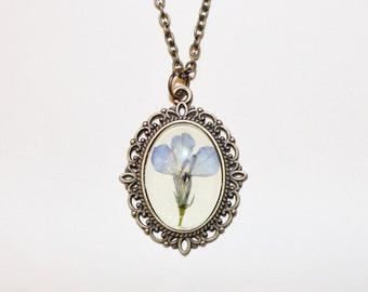 Handmade blue lobelia pressed flower necklace