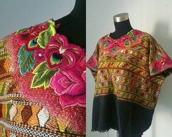 Embroidered Huipil Top with Bright Floral and Gold Shimmer | Vintage Handmade