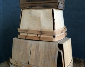 Collection Of 6 Vintage Wooden Berry Boxes In Unusual Sizes