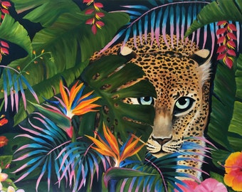 Jaguar Jungle Tropical forest animals leopard oil painting