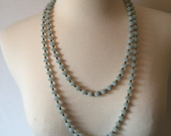Vintage Pale Blue Extra Long Necklace