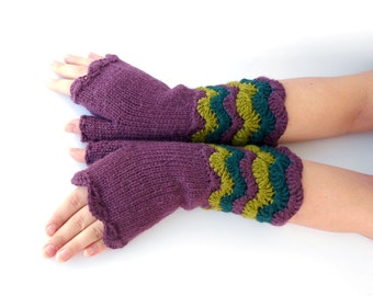 Wine Color Wrist Warmers, Fall Winter Fingerless Mittens, Maroon Gloves, Fingerless Hand Warmers, Knitted and Crochet Girls gloves.