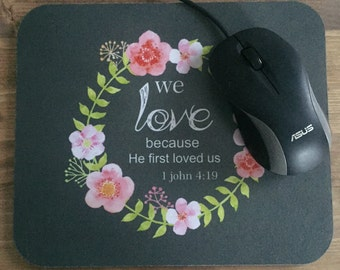 Mousepad, mouse pad, gift, flower crown, bible verse, office, computer