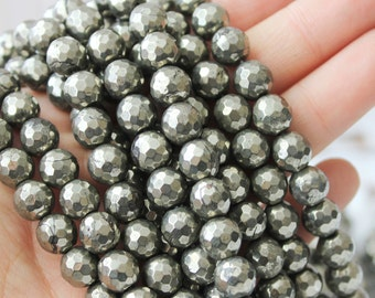 8mm Faceted Silver Pyrite Beads Full Strand Rustic Beads Fools Gold