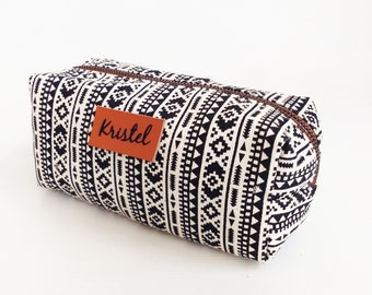 Monogram Bags,tribal black-white pencil bag,pencil case,zipper pouch,Back to School,Makeup Bags,Cosmetic Bags,gift for women,mom,teen gift