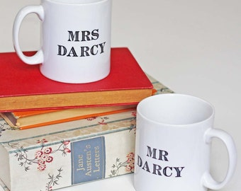 Mug - Mr & Mrs Darcy - Jane Austen Wedding Gift Set Mugs - Anniversary - Pride and Prejudice - Book Lover Gifts - Hen Night - Vintage Font