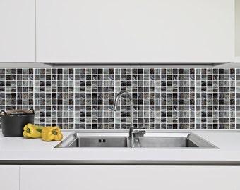 schwarz wei grau mosaik fliese design 24 kachel aufkleber stil backsplash aufkleber fr wnde kche aufkleber - Schwarzweimosaikfliese Backsplash
