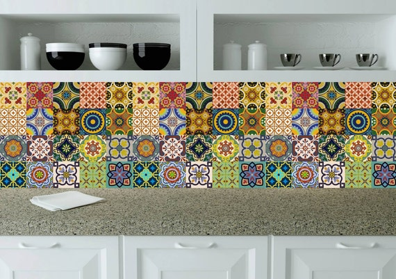 Splashback 24 units tile stickers kitchen decals wall mural - Stickers credence cuisine ...