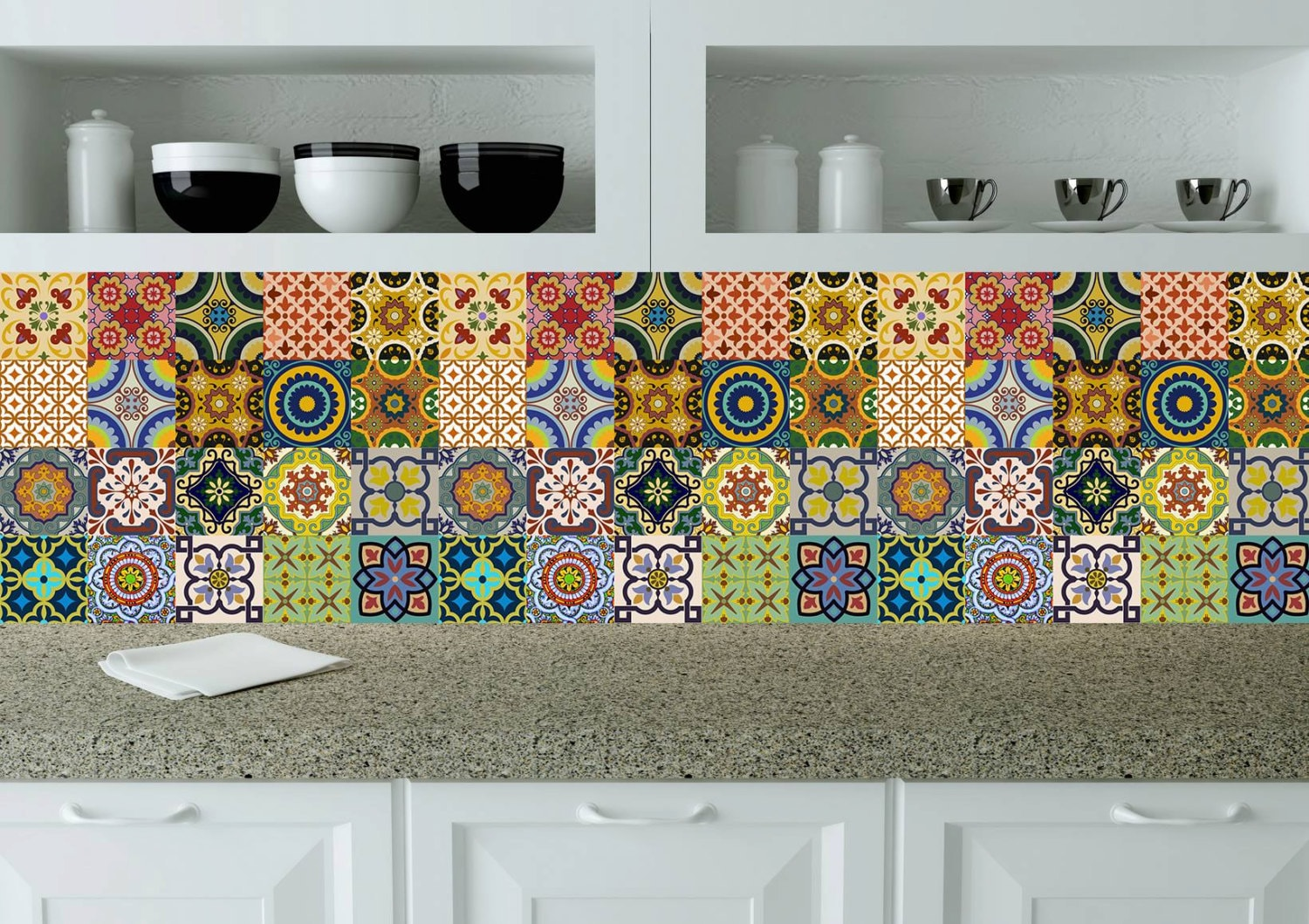 Splashback 24 units tile stickers kitchen decals wall mural for Carreau cuisine mural