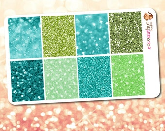 March / St. Patrick's Day Green & Aqua Glitter and Bokeh Full Box Planner Stickers (Erin Condren Life Planner Monthly Colors)