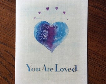 You Are Loved purple heart greeting card