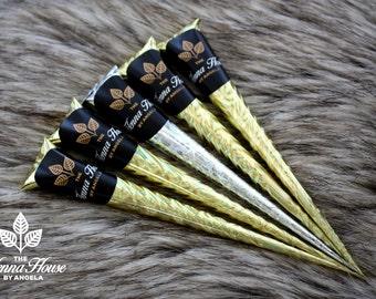 Five 100% Natural, Fresh, & Dark Staining Henna Cones