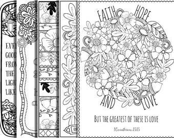 5 Bible Verse Coloring Pages Set Autumn Inspirational Quotes DIY Adult Printable Sheets JPG