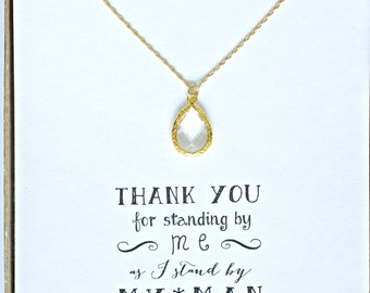 Clear Crystal Gold Necklace, Clear Crystal Necklace, Crystal Bridal Necklace, Bridesmaid Jewelry Gift, Bridal Party Gifts - NK1
