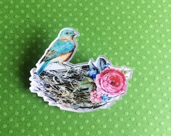 Blue Bird in its Nest Brooch // Bird Pin