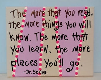 Dr. Seuss The More That You Read The More Things You Will Know (Purple) Canvas Painting