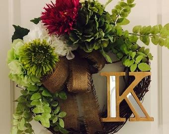 Spring Monogram Door Wreath