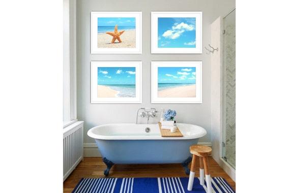 Beach Bathroom Decor Set of 4 Prints, Beach Photography, Beach Cottage Decor, Ocean Decor, Ocean Print Set, Beach Art Set of 4.