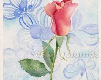 Rose Original Watercolor, Flower Watercolor, Original Watercolor Painting, Rose Bud  Painting