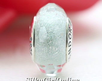 Pandora Sterling Silver Frosty Mint Shimmer Murano Glass Bead 791656