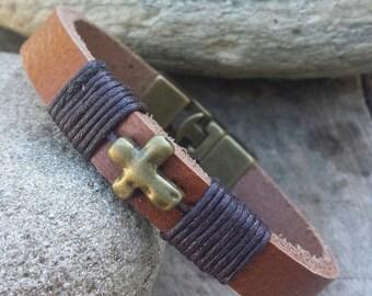 FREE SHIPPING-Leather Bracelet,Men's Leather Bracelet,Cross Leather Bracelet,Cross Men Cuff,Wrap Men Bangle Men's Jewelry,Bracelet For Men