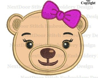 Teddy bear face embroidery, girly bear bow tie machine embroidery applique design, br-008