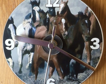 Galloping Wild Mustang Horses CD Clock (Can be Personalised)