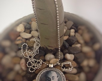 Vintage vampire necklace with vampire fangs charm