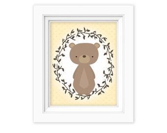 Printable Wall Art, Woodland bear art, Baby Boy baby girl Nursery decor, Gender Neutral Nursery art, Baby Girl Woodland Nursery Print