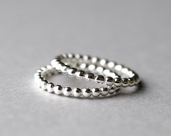 925 Sterling Silver Ring, Beaded Ring, Minimalist Ring, Dainty Ring, Silver Ring, Stackable Ring