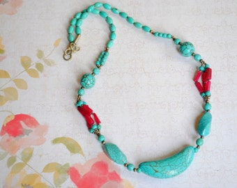Turquoise and Ruby Stone Necklace