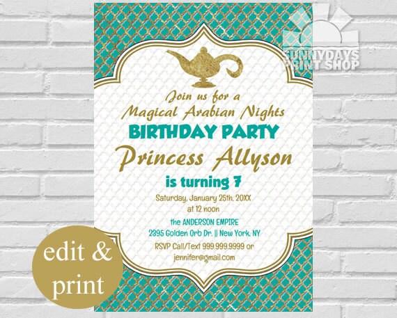 Ariabian Nights Birthday Invitation Magic Carpet Genie in a