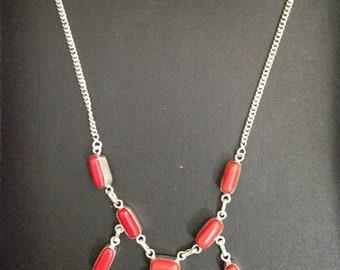 Vintage Sterling Silver Coral Necklace