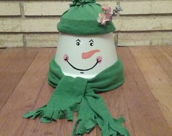 Tarracotta Pot Snowman Christmas