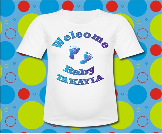 personalized baby shower t shirt with baby feet all sizes or sayings