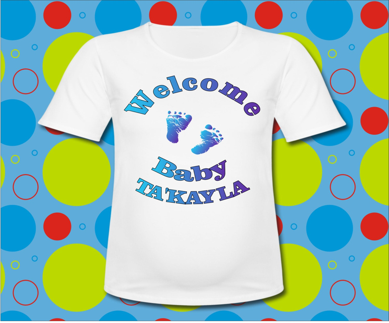 Personalized Baby Shower T Shirt With Baby Feet All Sizes Or