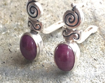 Ruby Earrings, Natural Ruby, Infinity Earrings, July Birthstone, Vintage Earrings, Antique Ruby Earrings, Pure Silver, Solid Silver Earrings