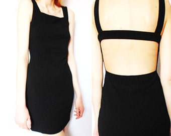 The 'Paltrow' LBD - Black Bodycon, Cut-Out Back Dress