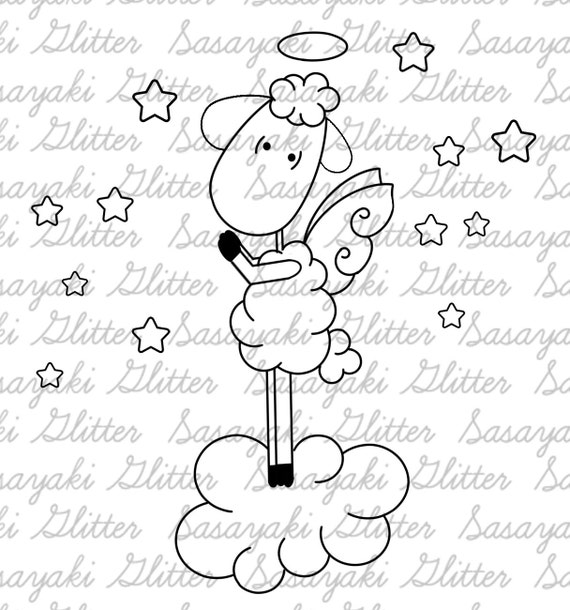 Angel Sheep Digital Stamp by Sasayaki Glitter