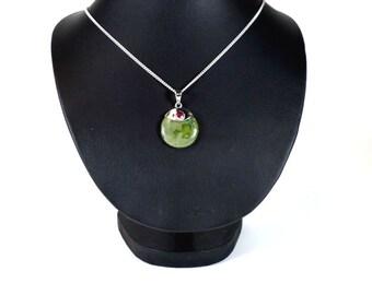 Handmade Round Connamarra Marble with Garnet Pendant