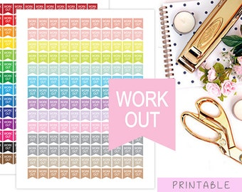 Workout Planner Stickers, Gym Printable Stickers, Fitness Stickers, Flag Stickers, Erin Condren Stickers, MAMBI Happy Planner Stickers