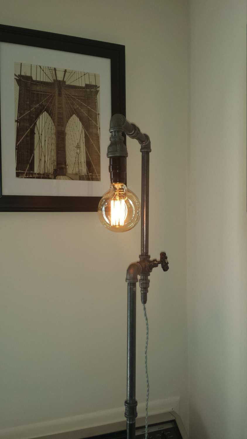 floor lamp steampunk industrial edison bulb by brightleaflights. Black Bedroom Furniture Sets. Home Design Ideas