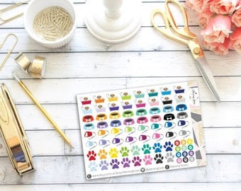 Assorted Dog Stickers || 76 Planner Stickers