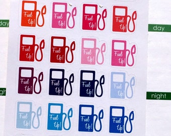 Gas Pumps Colorful, Planner Stickers