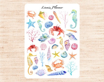 Sea Shell Decorative (matte planner sticker, Erin Condren, Happy Planner, Filofax, Kikki K)
