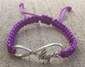 Infinity Hope or Infinity Charm Macrame Bracelet - made to order