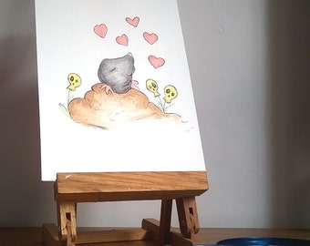 Quirky Mole Original Painting, Mole Nursery Wall Art,  Original Watercolour Painting, Whimsical Mole Painting, Cute Mole, Woodland Creature,