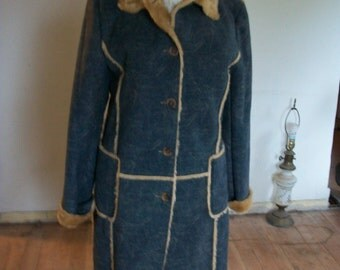 BEAUTIFUL!!! Womens FAUXDistressed Denim/FUR Long Coat Size Large